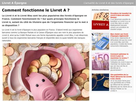 Capture d'écran du site web « Livret A Epargne », spécialiste des livrets d'épargne
