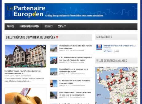 Page d'accueil du blog du Partenaire Européen